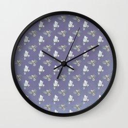 Snowy Owl flight pattern in Lavender Wall Clock