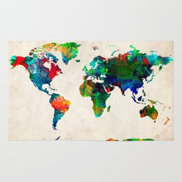 World map watercolor grunge Rug