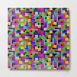 Tetris Inspired Retro Gaming Colourful Squares Metal Print