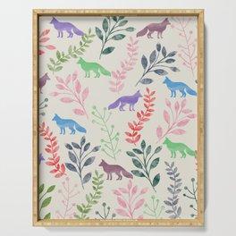 Watercolor Floral & Fox III Serving Tray