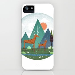 Deer and son iPhone Case