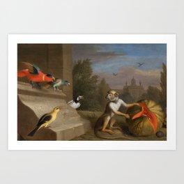 Jacob Bogdani - Parrots and monkey Art Print