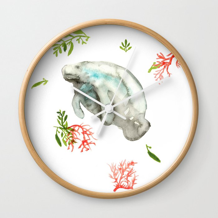 Manatee and Coral  Wall Clock