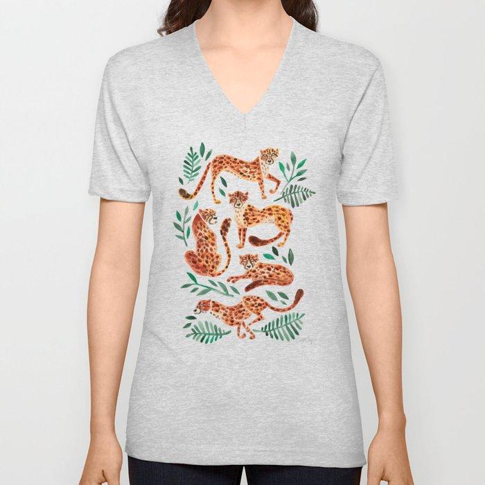 Cheetah Collection – Orange & Green Palette Unisex V-Ausschnitt