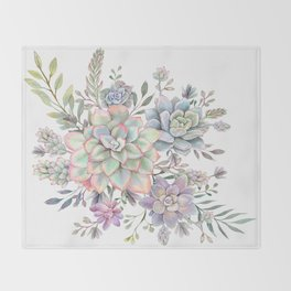 succulent watercolor 8 Throw Blanket