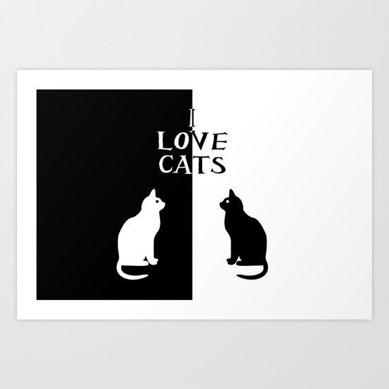 OPPOSITES LOVE: CATS Art Print