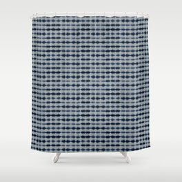 Shibori Frequency Horizontal Navy and Grey Shower Curtain