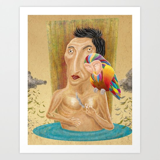 Existence and  Rainbow Owl Art Print
