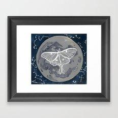 La Luna constellations & moon watercolor Framed Art Print