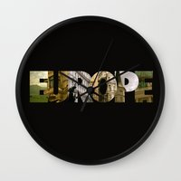 europe Wall Clocks featuring Europe by Stokes Whitaker