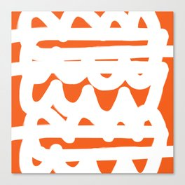 Orange and White Abstract Pattern Canvas Print