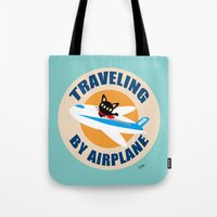 airplane Tote Bags featuring Airplane by BATKEI
