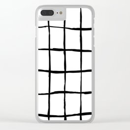Black white hand drawn geometric abstract random stripes Clear iPhone Case
