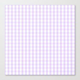 Chalky Pale Lilac Pastel and White Gingham Check Plaid Canvas Print