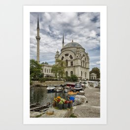 Mosque and the Flowers  Art Print