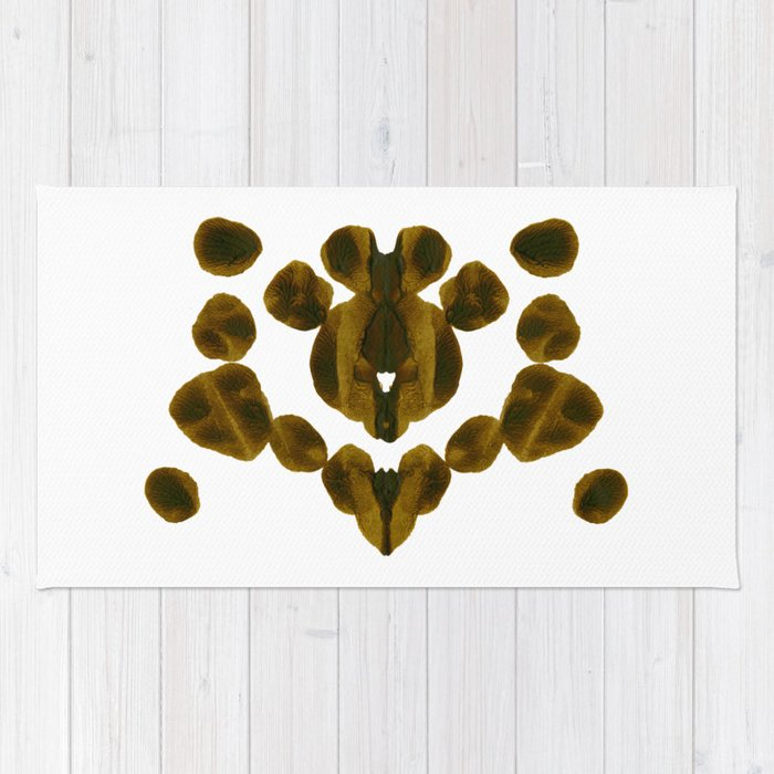 Olive Green Inkblot Nature Pattern Rug