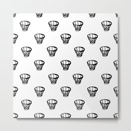 Basketball Motif Print Pattern Metal Print