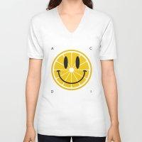 lemon V-neck T-shirts featuring Lemon by Pifla