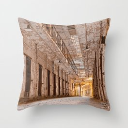 Glowing Prison Corridor Throw Pillow