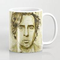 tim shumate Mugs featuring Tim Burton by Renato Cunha