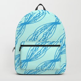 Blue molecular helix on a celestial background. Backpack