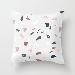 Blush and Grey Terrazzo Throw Pillow