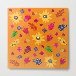 Bright Autumn Fall Leaves Flower Pattern Metal Print