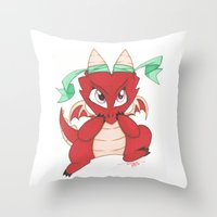 magic the gathering Throw Pillows featuring Chibi Red Dragon Magic the Gathering Token by Deadlance