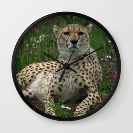 Cheetah Amidst Spring Flowers Wall Clock