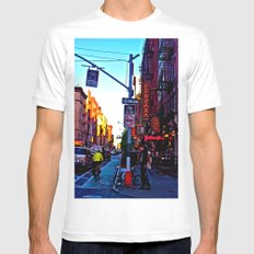 Sun Goes Down  in the City MEDIUM Mens Fitted Tee White