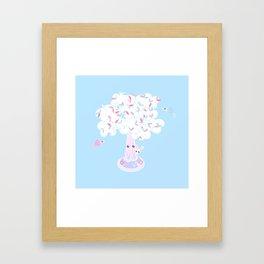 Kawaii Tree Clouds Framed Art Print