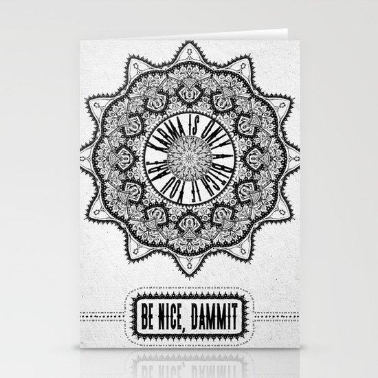 Karma is Only a B**ch if You Are - Be Nice, D***it - Mandala in Black & White by madzakkagraphics