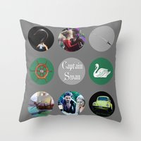 captain swan Throw Pillows featuring Captain Swan by Your Friend Elle