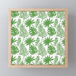 Mid Century Modern Tropical Leaf Pattern Green Gray White Framed Mini Art Print