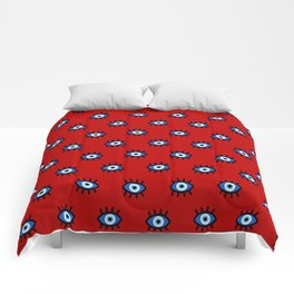 Evil Eye on Red Comforters