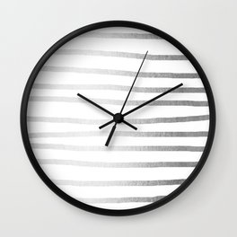 Simply Drawn Stripes Moonlight Silver Wall Clock