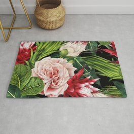 Rich Tropical Floral Design Rug
