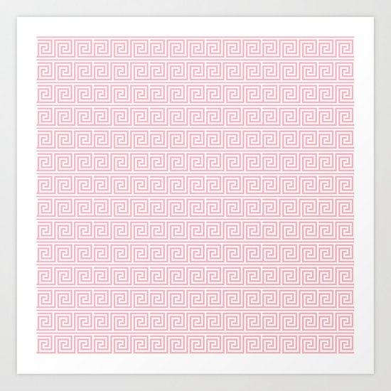 Blush Pink Greek Key Pattern  Art Print