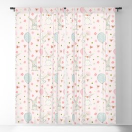 Easter bunnies and balloons - pink Blackout Curtain
