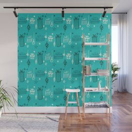 Christmas gift and ornaments Teal Wall Mural