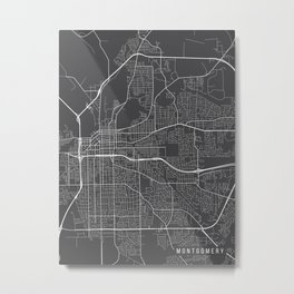 Montgomery Map, Alabama USA - Charcoal Portrait Metal Print