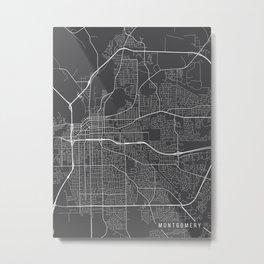Montgomery Map, Alabama USA - Charcoal Portrait Metal Print