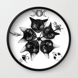 Kitten Star Conjuring Spell to Open a Kitten Portal Wall Clock