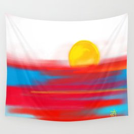 Sketchy Sun and Sea. Sunset and Sunrise Sketch Wall Tapestry