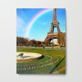 rainbow eiffel tower garden scene in Paris Metal Print