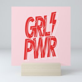 GRL PWR - GIRL POWER (Feminism typography design in red) Mini Art Print