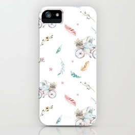 Modern pastel pink blue gray watercolor bicycle rabbit floral iPhone Case