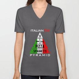 Spaghetti Italian Food Pyramid Pasta Pizza Vino Unisex V-Neck