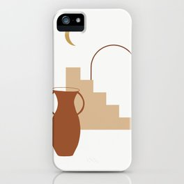 Modern Terracotta Pot, Abstract Mid Century, Earth Tones iPhone Case