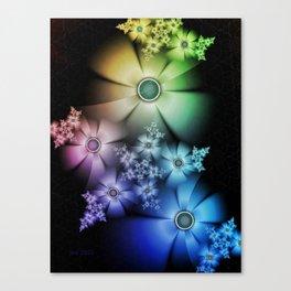 Pastel Silk Rainbow Flowers Canvas Print